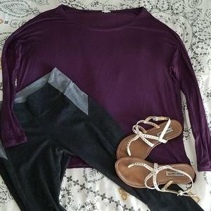 Oversized Flowy Purple Long Sleeve T-shirt